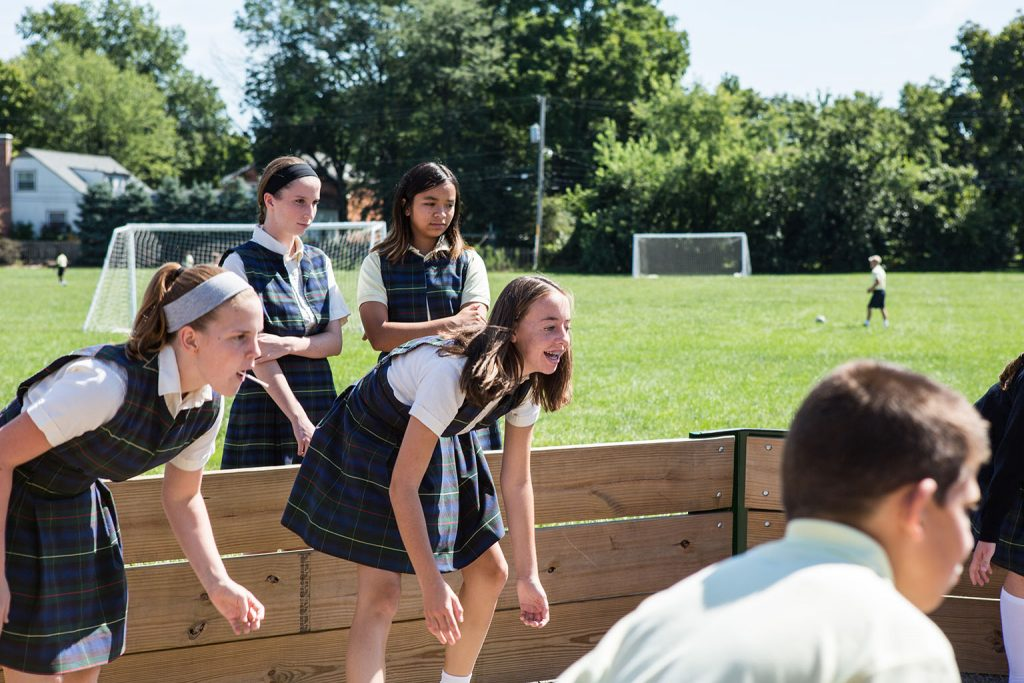 Students Using Gaga Pit Purchased with Home & School Funds